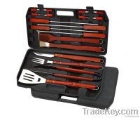 Barbecue Tools with Plastic Case and Wood Handle, Mirror Polish