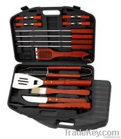 BBQ Tool Set, Made of Head-420 Hard Wood Handle Plastic Case, Thick