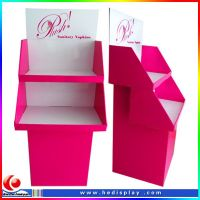 cute design 3 trays cardboard display for toy make-up/retail cardboard display rack for drink/corrugated paper display shelf