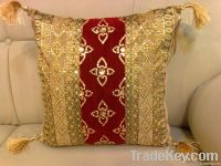 CUSHION COVER HANDMADE EMBROIDERED SEQUENCE BEADED WORK HOME TEXTILE