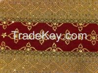 COTTON FABRIC HAND EMBROIDERED SEQUENCE BEADED WORK HOME TEXTILE