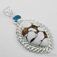 Cheap fashion pendants gemstone 925silver jewelry turquoise pendant