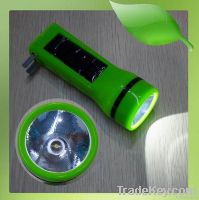 Rechargable Portable AC Power and Solar LED Torch Flashlight