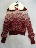 Wool+rabbit collar knitwear / Cardigan sweater coat