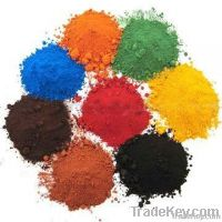 iron oxide red , black , blue green , yellow, brown