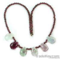 sliver platd garnet citrine gemstone necklace 20