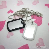 metal blank dog tag with rubber ball chain