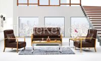 S033 office leisure sofa/wood arm sofa/steel base sofa