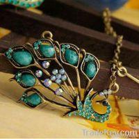 Super pretty sapphire pheonix pendant necklace jewelry set
