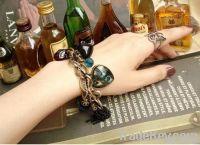 Fashion Alloy beads chain heart pendant bracelet, jewelry set hot sale