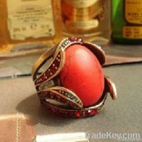 Ladies' Antique Red Turquoise fashion rings jewelry, discount jewelry