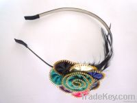 fashion baby and children hair bands, headbands, made of feather, metal
