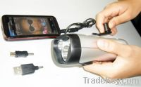 dynamo led flashlight with cell phone charger