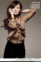 Orange Cotton Lovely Checkered Shirt Asian Style