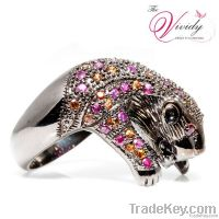 """""""Be dignified look"""" A Tiger Design Ring with Yellow Sapphires and Ruby"""