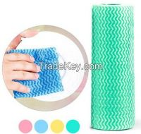 Printed spunlace nonwoven cleaning cloth