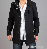 2011 New Mens Woolen Gray Grey / Black Trench Pea Coat Winter