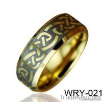 Gold Plated Mens Celtic Tungsten Jewelry Ring 8mm