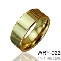 Simple Flat Tungsten Wedding Ring high polish and 18K gold plated