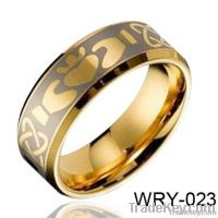 Fashion Masion Tungsten Ring Dome and 18K Gold Plated