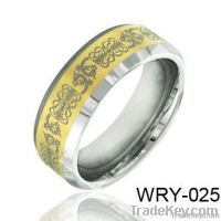 Masionic Tungsten Ring for Men 18K Gold Plated and Laser finished