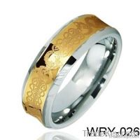 Concave Masonic Tungsten Ring 18 K Gold Plated and laser