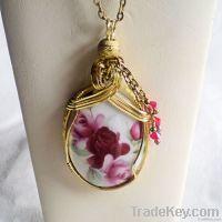 Romantic Roses Porcelain Cameo Pendant Necklace