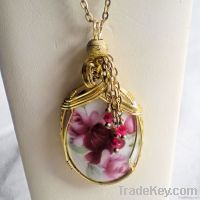 Romantic Roses Porcelain Cameo Pendant Necklace