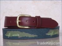 Hand Stitched Alligator Needlepoint Leather Belts