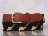 Handmade Golf tee needlepoint belt