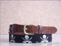 Handstitched Needlepoint belts made of alligator leather