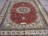 100% handmade pure silk persian design carpet, rug
