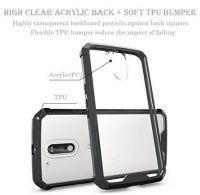 Slim Hybrid Transparent Crystal Acrylic Back TPU Bumper Shock Resistant Phone Case Cover For Motorola G 4th Generation