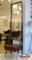 Full Length Mirror Shelf Wooden Framed