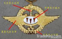 eagle shaped ; metal badge ; gold color pendant