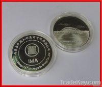Coin and bird pin badge, silver coin , army coin