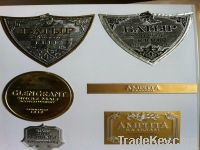 custom wine label, metal wine label, embossed label for cognac, wine b