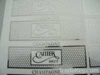 embossed aluminum label, soft metal sticker, adhesive label