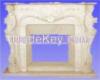 stone fireplace, marble fireplace, statue fireplace