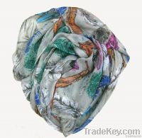 Feather print polyester scarf