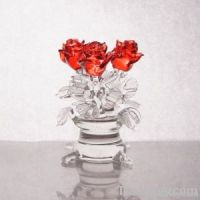 Hand made glass roses in a vase