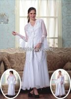 Arabian white satin camisole with lace robe
