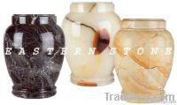 ONYX, MARBLE, AND FOSSIL STONE ASH URN, CREMATION URN, FUNERAL URN
