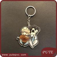 Promotion Custom Printed Clear Cartoon Acrylic Key Chain/Key Ring