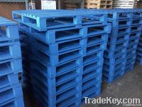 Blue painted wooden pallet