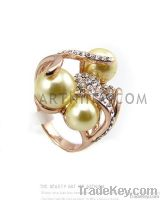 high quality alloy with 14k rose gold plated ivory white pearl flower