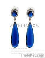 allergy-proof charm blue teardrop earrings