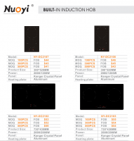 built-in induction cooker/hob with 2 burners/4 burners