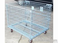 folded galvanized metal pallet cage, storage container