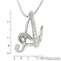 18K white gold diamond letter pendant